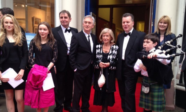 Denis Lawson (centre left) at the premiere in Crieff.