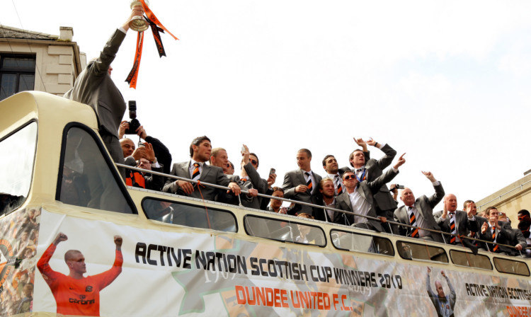 Players will take an open top bus from the centre to Tannadice as they did after their 2010 cup win.