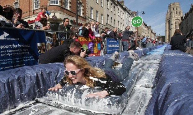 A water slide set up in Bristol earlier this month was a wild success.