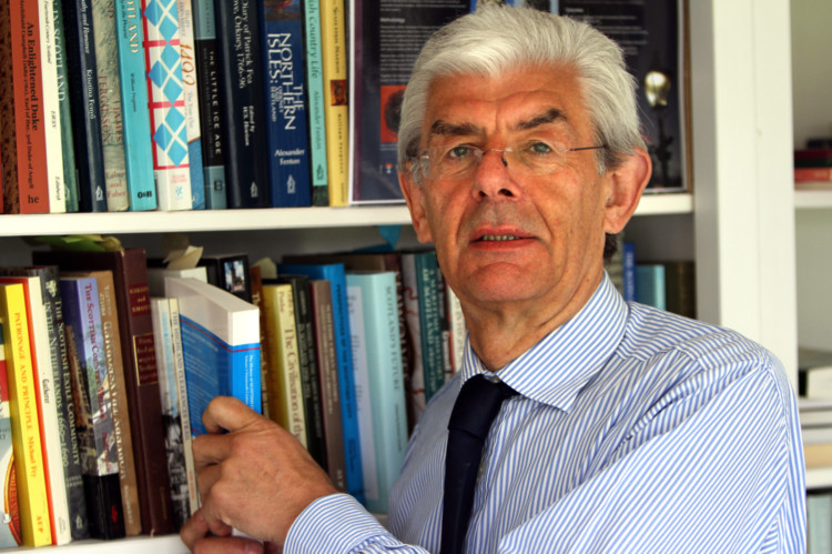 Kris Miller, Courier, 26/05/14. Picture today shows Prof Christopher Whatley for features piece on '5 Million Questions, Understanding Scotland's Referendum' . Pic shows Professor Whatley at home in his study.