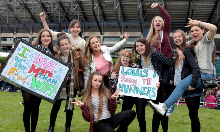 Some of the hundreds of young fans who descended on Murrayfield last night declare their love for One Direction.