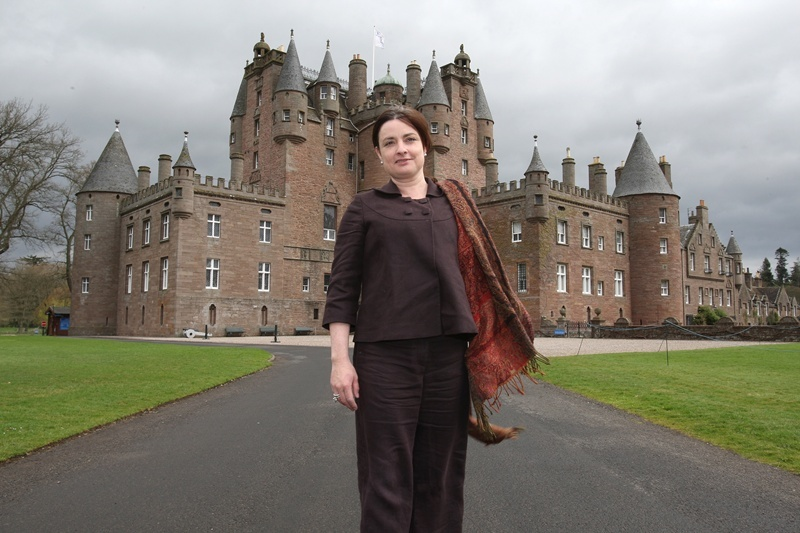 Kris Miller, Courier, 28/04/10, News. Picture today at Glamis Castle. Pic shows the new Manager, Mary Shields in front of the dramatic building.
