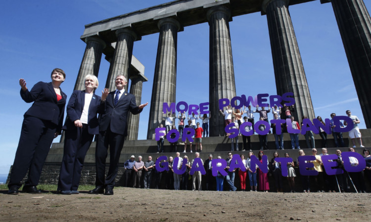 Scottish party leaders Ruth Davidson, Johann Lamont and Willie Rennie have pledged more powers for Holyrood in the event of a No vote.