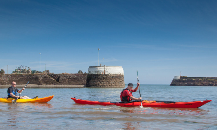 Arbroath was doing a good impression of a Mediterranean resort for canoeists Paul Bywater(left) and Mark Hill on Wednesday.