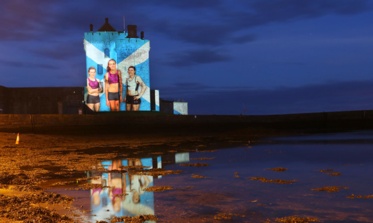 Broughty Castle illuminated for the Commonwealth Games.