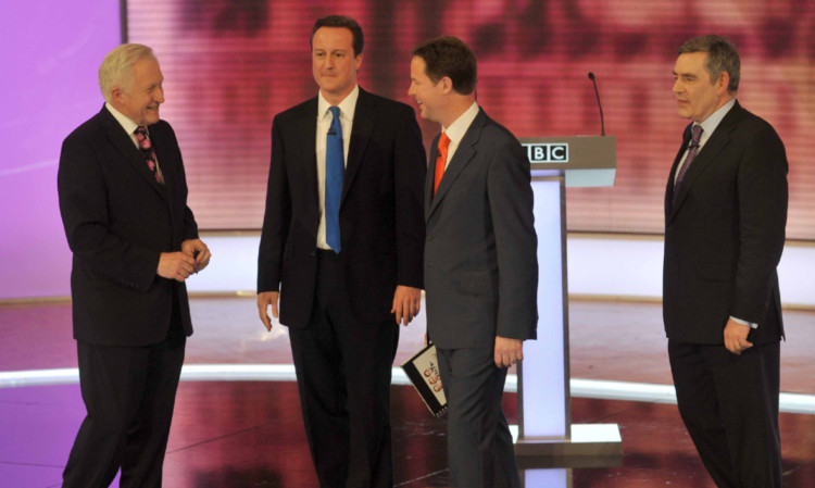 David Dimbleby, far left, with, David Cameron, Nick Clegg and and then Prime Minister Gordon Brown after the third and final televised debate in 2010.