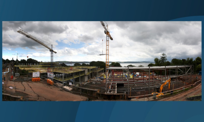 A panoramic view of the construction site.
