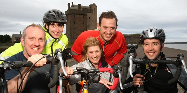 Kris Miller, Courier, 15/05/11. Picture tonight at Broughty Castle shows some of the cyclists who are taking part in the 'Tour De Grouse' to raise funds for RP Fighting Blindness. Pic shows L/R, Bill Green, Lynne Taylor, Judith Clark, Paul Cooper and Mike Kelleher.