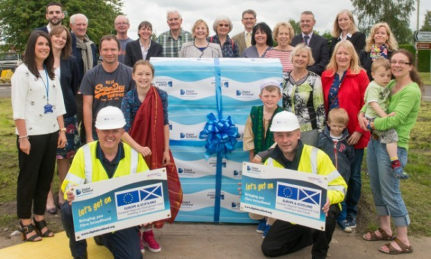 Residents of Luncarty together with officials from Perth and Kinross Council, Digital Scotland Superfast Broadband as well as BT come together at the launch.
