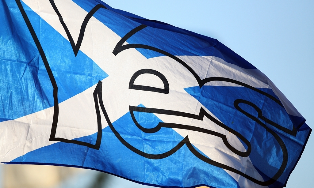 Kris Miller, Courier, 13/07/14. T in the Park 2014. Pic shows a YES flag flying in front of the Radio 1 stage.