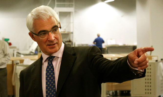 Alistair Darling during a visit to Fife Fabrications in Glenrothes, the day after his televised debate with Alex Salmond.