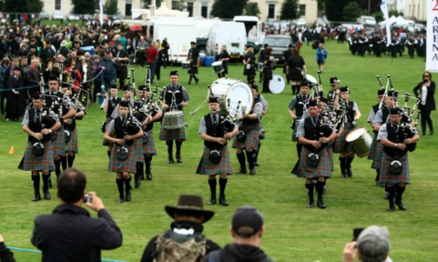 The City Of Sails Pipe Band from New Zealand taking part in the pipe band competition.