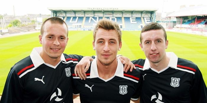 Bob Douglas, E Telegraph. New signings at Dens Park. Pic of, l-r, Steven Milne, Jake Hyde and Ryan Conroy.