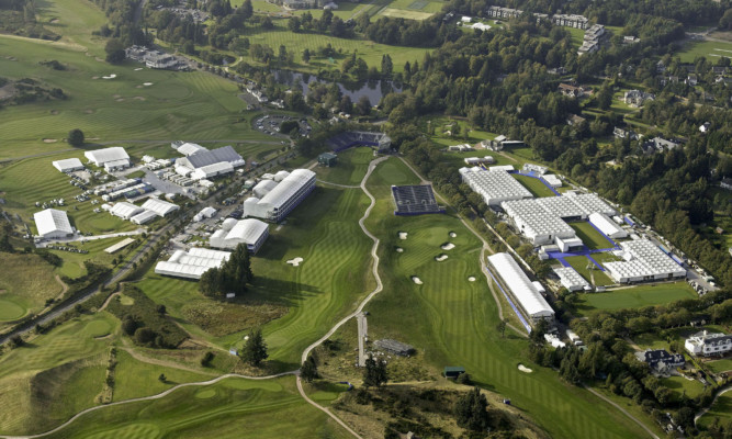 The media centre and the main corporate hospitality facilities on the left, with the main tented village area to the right.