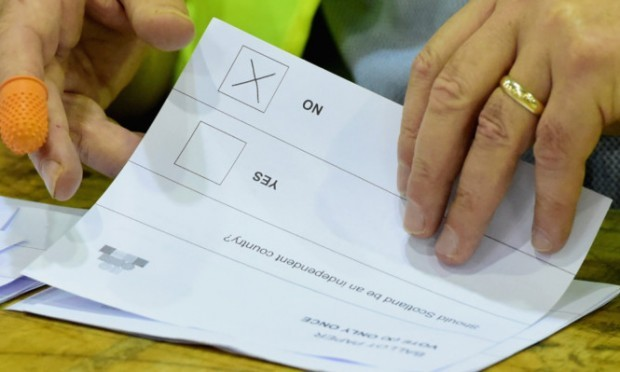 EDINBURGH, SCOTLAND - SEPTEMBER 19:  A cross marks a NO vote on a ballot paper at the count centre for the Scottish referendum at Ingleston Hall on September 19, 2014 in Edinburgh, Scotland. Polls have now closed in the Scottish referendum and the United Kingdom await the results of this historic vote.  With a substantial turnout at the polling stations the vote is too close to call and the result is expected in the early hours of this morning.  (Photo by Jeff J Mitchell/Getty Images) *** BESTPIX ***