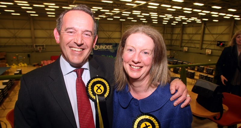 Gordon Robbie Courier  Election count at DISC Dundee   Stewart Hosie Dundee east with wife Shona Robinson