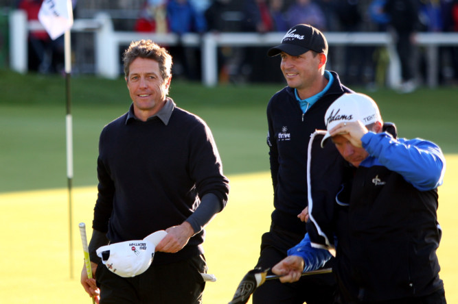 The weather was far from ideal but it didnt stop the stars joining some of the brightest golfing talents at St Andrews for the Alfred Dunhill Links Championship. Despite wet conditions delaying the start of play, the downpours failed to stop the pros and celebrities from enjoying themselves at the Old Course. Hugh Grant at the 18th.