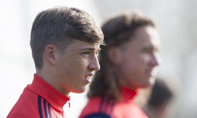 Former Dundee United star Ryan Gauld and ex-St Johnstone striker Stevie May at the Scotland training camp at Mar Hall.