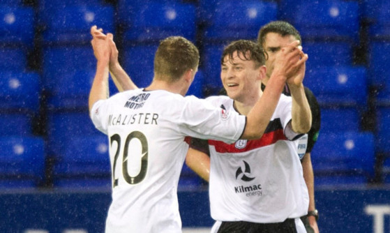 Nicky Riley celebrates his goal with Jim McAlister.