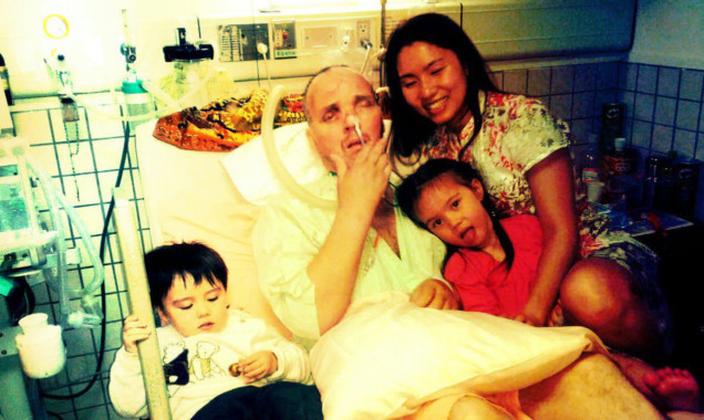 Kevin Skelly and family at the hospital soon after his accident.