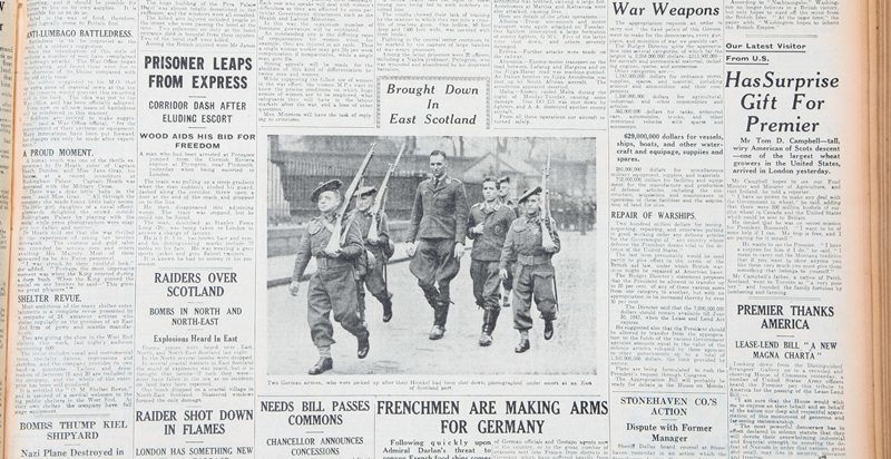 Picture of captured German aircrew, taken from The Courier newspaper, dated April 13th, 1941.