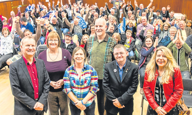 Front, from left: Pete Wishart MP; Sheila McCole, Women for Independence; co-organiser Jen Spark; Gordon Mackay, Labour for Independence; Russ Denny, Veterans for Scottish Independence 2.0; and Lorna Waite, writer and researcher.