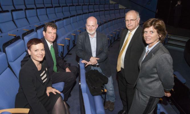 From left: Creative Scotland chief executive Janet Archer, Dr Michael Downes, Professor Don Paterson, council leader David Ross and university principal Dr Louise Richardson.