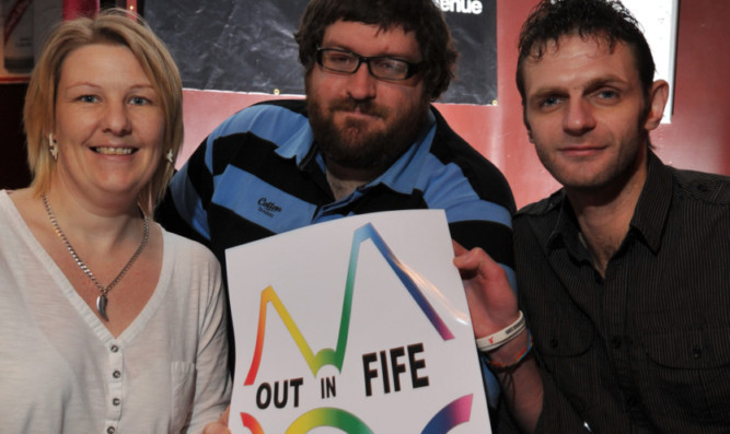 From left: Out in Fife member Lana Greenhorn, Jam Jar owner and DJ Stephen Manson and Out in Fife chairman Dave Jackson.