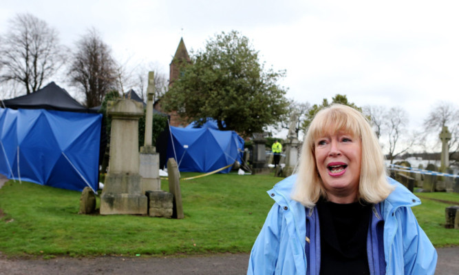 Sandra Brown at Old Monkland Cemetery.