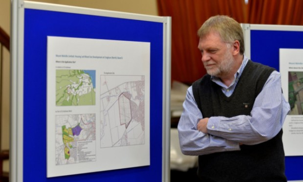 Alex Sneddon, of consultancy firm Transport Planning, at St Andrews Memorial Hall for the planning consultation on a major housing, retail and commercial plan for land near Younger Gardens.