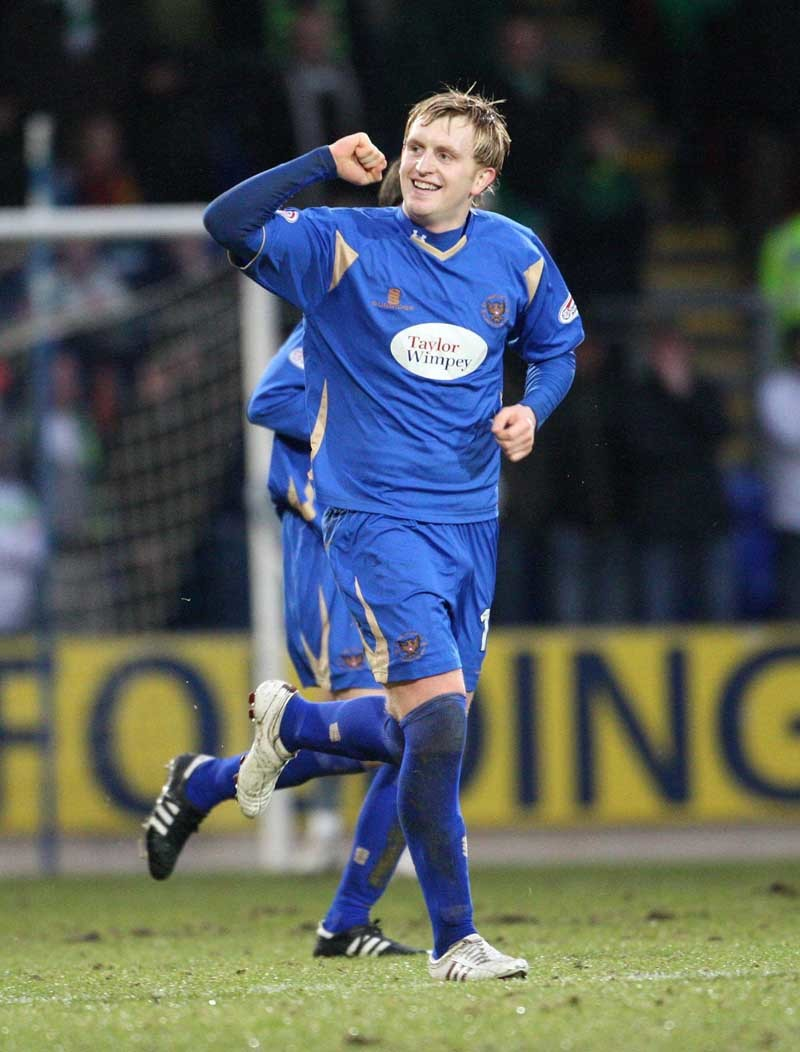 St Johnstone's Liam Craig celebrates scoring their first goal during the Clydesdale Bank Scottish Premier League match at McDiarmid Park, Perth, Scotland.