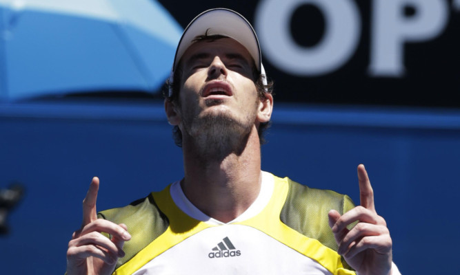 Murray celebrates after beating Haase - and the Australian heat.