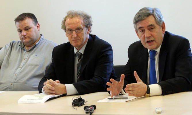 From left: Colin Cuthbert, shop steward at the Leven factory, Lindsay Roy and Gordon Brown.