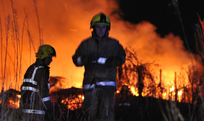 Kim Cessford - 14.01.13 - pictured is the fire on the allotments on the Law Hill