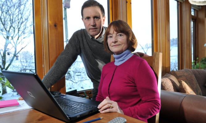 At their Kilry home are Roger and Pippa Clegg, who have been left without landline telephone or broadband connection since before Christmas.