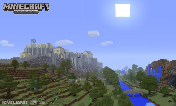 A screenshot from Minecraft: Xbox 360 Edition, which has become the fastest selling title on Xbox Live Arcade.