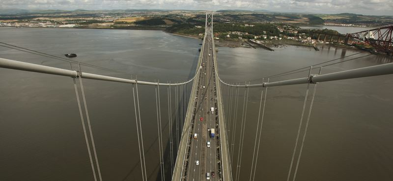 The Forth Road Bridge 45th anniversary.     The view from the south tower, looking towards Fife.
