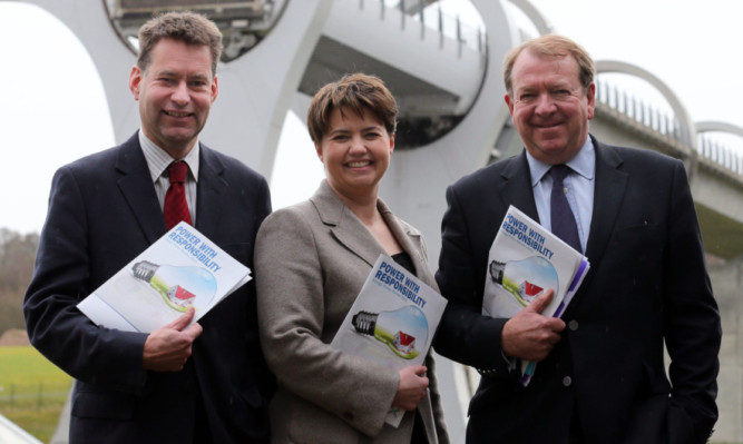 Scottish Conservative leader Ruth Davidson launches her party's energy policy paper - Power With Responsibility with Murdo Fraser MSP (right) and Struan Stevenson MEP (left) at the Falkirk Wheel.