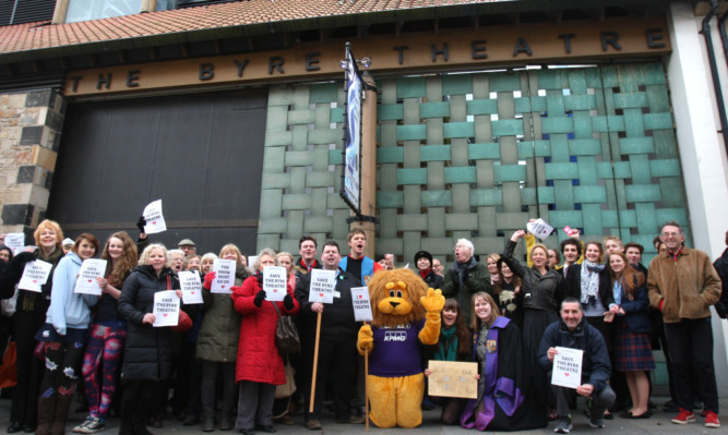 Supporters who gathered to call for the Byre Theatre to be saved earlier this week.