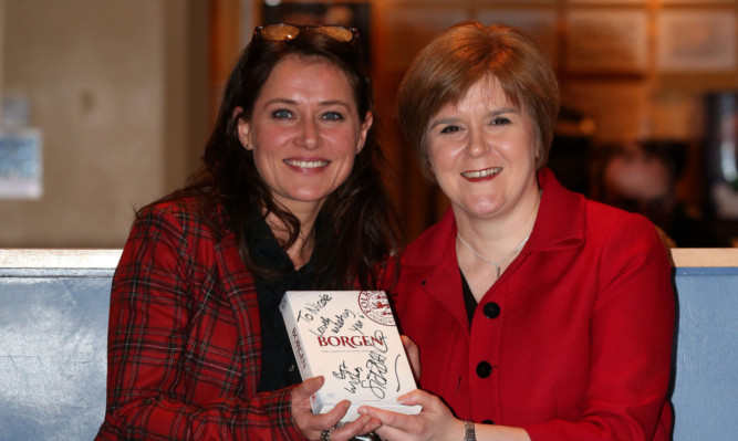 Sidse Babett Knudsen (left) the star of Danish hit drama Borgen, with fan Scottish Deputy First Minister Nicola Sturgeon.