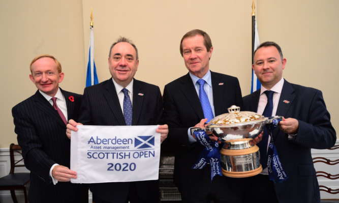 The Scottish Open deal was announced yesterday at Bute House in Edinburgh. From left: VisitScotland chairman Mike Cantley, First Minister Alex Salmond, European Tour chief executive George OGrady and Stephen Docherty, head of global equities for Aberdeen Asset Management.