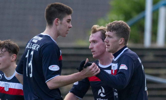 Jim McAlister (right) and Declan Gallagher celebrating against Morton.