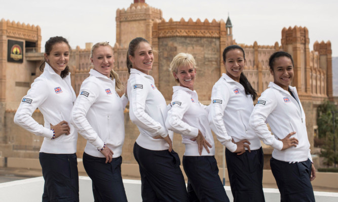 Great Britiain's Fed Cup Team: (L to R) Laura Robson, Elena Baltacha, Johanna Konta, Judy Murray, Anne Keothavong and Heather Watson.
