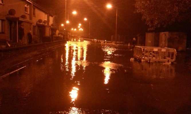 Flooding in Brechin on Friday night, photographed by reader Marie Walker.