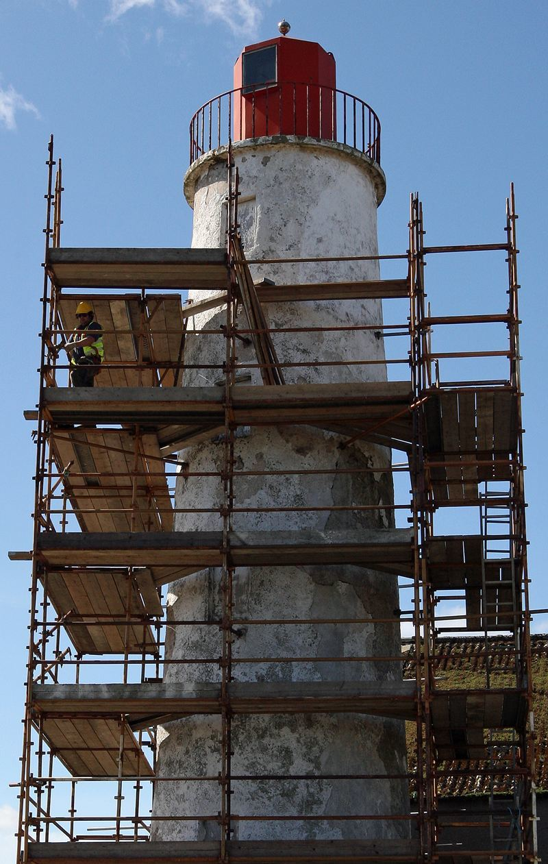 The lighthouse on the North side of the South Esk which provides the leading light for ships entering the Montrose Harbour is decked with scaffolding as part of its refurbishment.