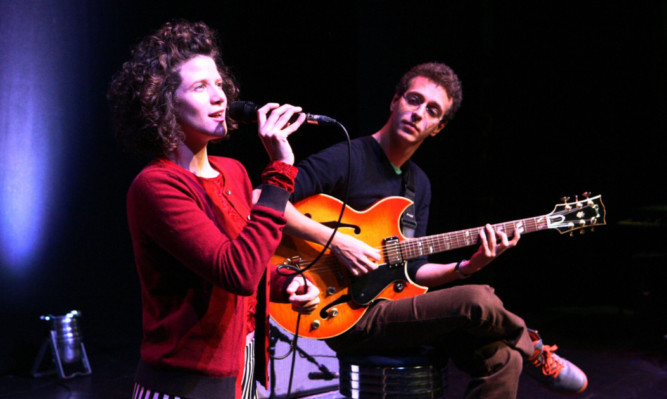 Cyrille Aimee with her guitarist Michael Valeanu at the Gardyne Theatre.