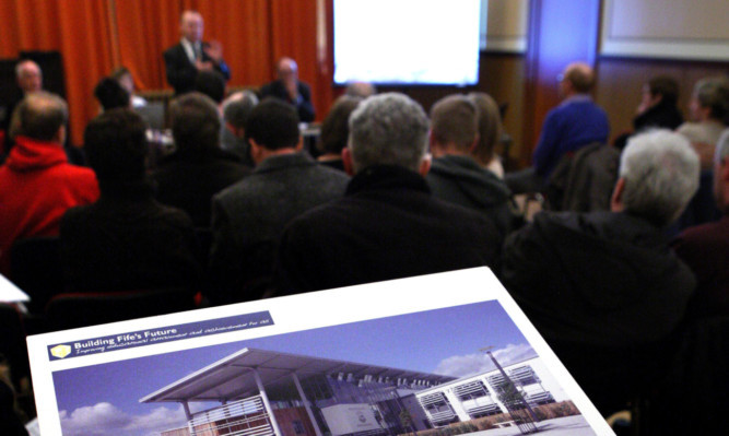 Plans for the new Madras and other new Fife schools on show at the meeting in the Blyth Hall.