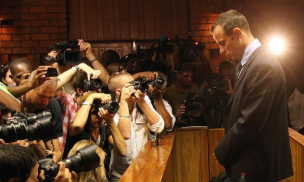 Oscar Pistorius faces the full glare of the media during Friday's bail hearing.