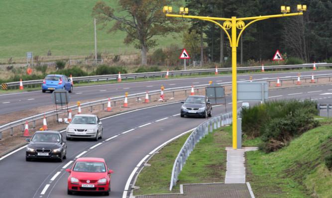 Average speed cameras on the A9 northbound by Auchterarder.
