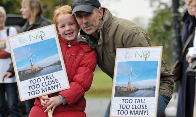 Rachel Provan and her grandfather Neil Muir were among the hundreds of marchers who took to the streets in Perth in October to protest at the proliferation of windfarms in Scotland.